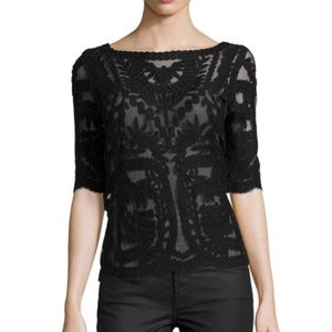 Laundry by Shelli Segal Mesh & Lace Sheer Top